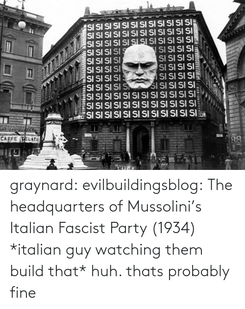 italian: graynard: evilbuildingsblog: The headquarters of Mussolini's Italian Fascist Party (1934) *italian guy watching them build that* huh. thats probably fine
