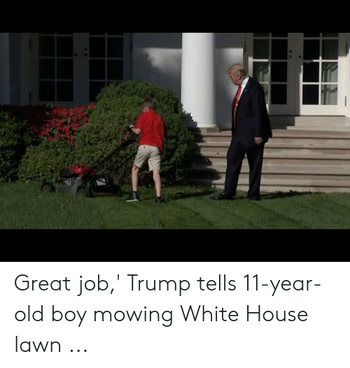 Great Job Trump Tells 11 Year Old Boy Mowing White House