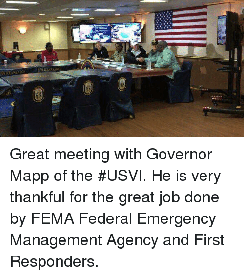 fema: Great meeting with Governor Mapp of the #USVI. He is very thankful for the great job done by FEMA Federal Emergency Management Agency and First Responders.