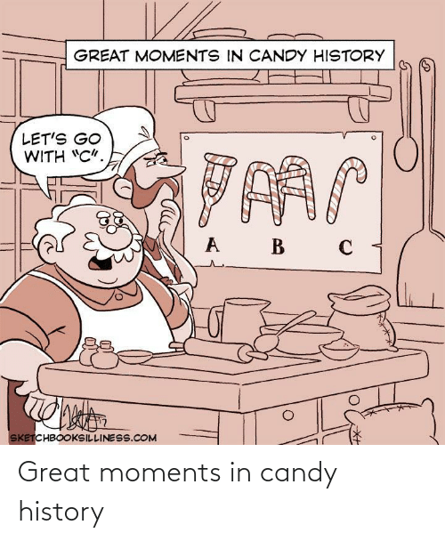 "Candy, History, and Com: GREAT MOMENTS IN CANDY HISTORY  LET'S GO  WITH ""C"".  B  SKETCHBOOKSILLINESS.COM Great moments in candy history"