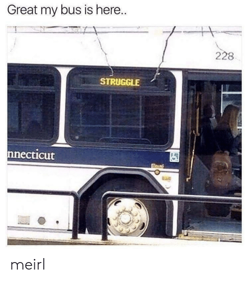 Struggle, MeIRL, and Bus: Great my bus is here.  228  STRUGGLE  nnecticut meirl