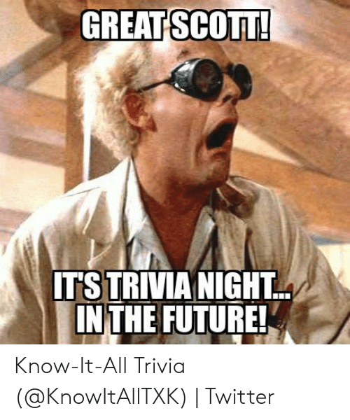 GREAT SCOTT IT'S TRIVIA NIGHT INTHE FUTURE! Know-It-All Trivia