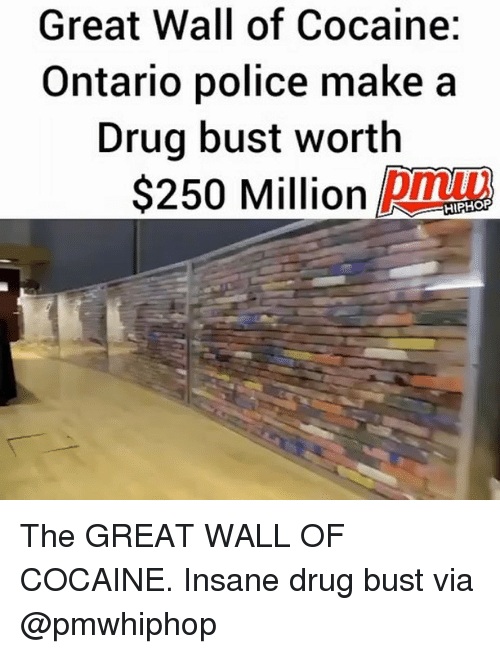 walle: Great Wall of Cocaine:  Ontario police make a  Drug bust worth  $250 Million Dmt  HIPHORP The GREAT WALL OF COCAINE. Insane drug bust via @pmwhiphop
