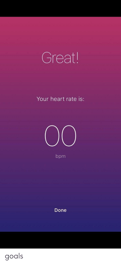 Goals, Heart, and Bpm: Great  Your heart rate is:  bpm  Done goals