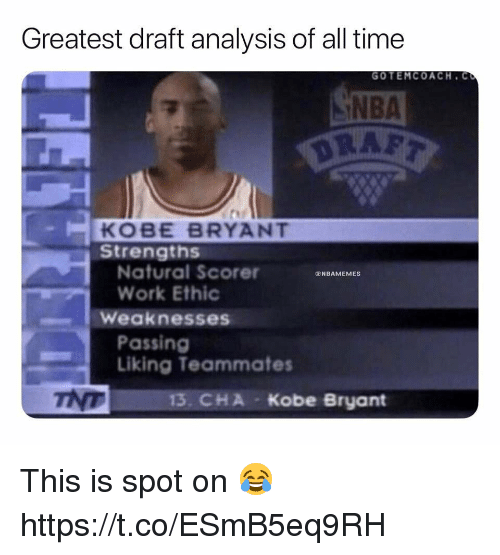 Kobe Bryant, Memes, and Nba: Greatest draft analysis of all time  GOTEMCOACH. C  NBA  KOBE BRYANT  Strengths  Natural Scorer  Work Ethic  NBAMEMES  Weaknesses  Passing  Liking Teammates  тур  13. CHA  Kobe Bryant This is spot on 😂 https://t.co/ESmB5eq9RH