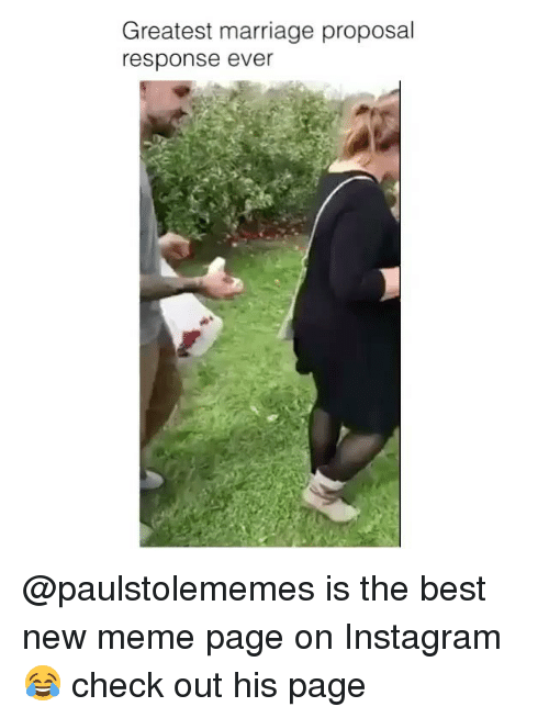 marriage proposal: Greatest marriage proposal  response ever @paulstolememes is the best new meme page on Instagram😂 check out his page