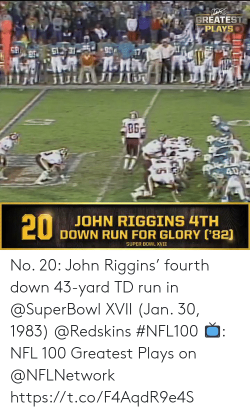 Superbowl: GREATEST  PLAYS  61731 90  ПЛ  40  20  JOHN RIGGINS 4TH  DOWN RUN FOR GLORY ('82)  SUPER BOWL XVII No. 20: John Riggins' fourth down 43-yard TD run in @SuperBowl XVII (Jan. 30, 1983) @Redskins #NFL100  📺: NFL 100 Greatest Plays on @NFLNetwork https://t.co/F4AqdR9e4S