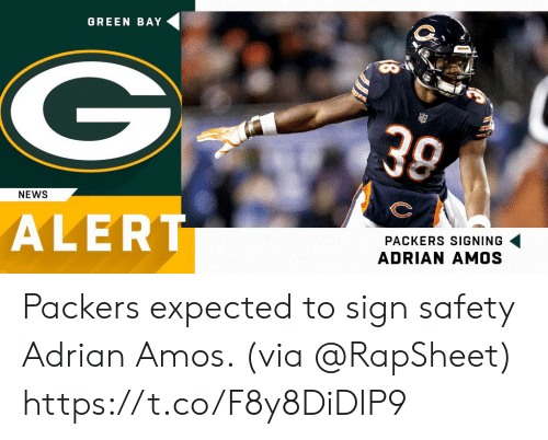 green bay: GREEN BAY  30  NEWS  ALERT  PACKERS SIGNING  ADRIAN AMOS Packers expected to sign safety Adrian Amos. (via @RapSheet) https://t.co/F8y8DiDIP9