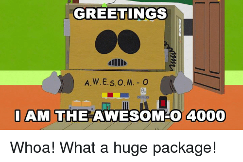 Awesomes: GREETINGS  dllI  8.  AM THE AWESOM-O 4000 Whoa! What a huge package!
