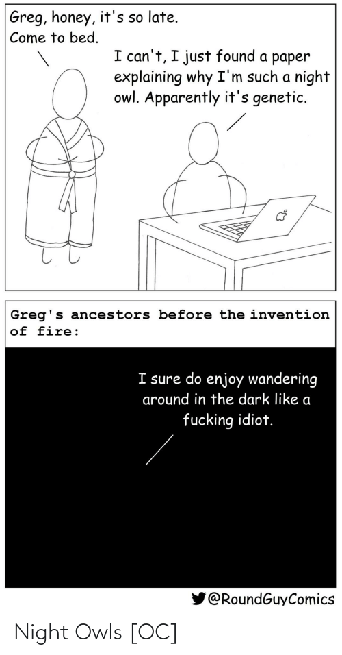 honey: Greg, honey, it's so late.  Come to bed.  I can't, I just found a paper  explaining why I'm such a night  owl. Apparently it's genetic.  Greg's ancestors before the invention  of fire:  I sure do enjoy wandering  around in the dark like a  fucking idiot.  @RoundGuyComics Night Owls [OC]