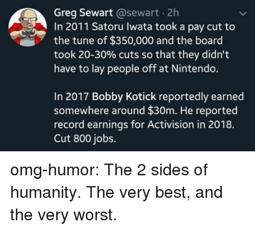 Nintendo, Omg, and Tumblr: Greg Sewart @sewart 2h  In 2011 Satoru Iwata took a pay cut to  the tune of $350,000 and the board  took 20-30% cuts so that they didn't  have to lay people off at Nintendo.  In 2017 Bobby Kotick reportedly earned  somewhere around $30m. He reported  record earmings for Activision in 2018.  Cut 800 jobs. omg-humor:  The 2 sides of humanity. The very best, and the very worst.
