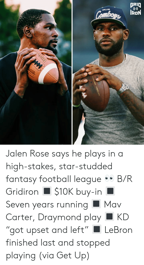 "Fantasy Football, Football, and Jalen Rose: GRID  B-R  DALLAS  Combors ION  HM Jalen Rose says he plays in a high-stakes, star-studded fantasy football league 👀 B/R Gridiron  🔳 $10K buy-in 🔳 Seven years running 🔳 Mav Carter, Draymond play 🔳 KD ""got upset and left"" 🔳 LeBron finished last and stopped playing  (via Get Up)"