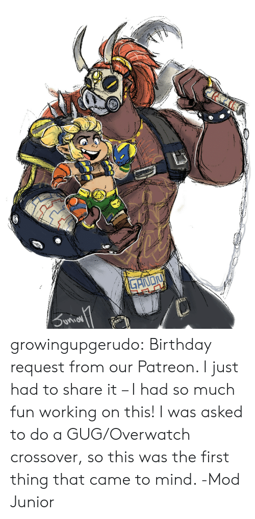 Birthday, Tumblr, and Blog: growingupgerudo:  Birthday request from our Patreon. I just had to share it – I had so much fun working on this! I was asked to do a GUG/Overwatch crossover, so this was the first thing that came to mind. -Mod Junior