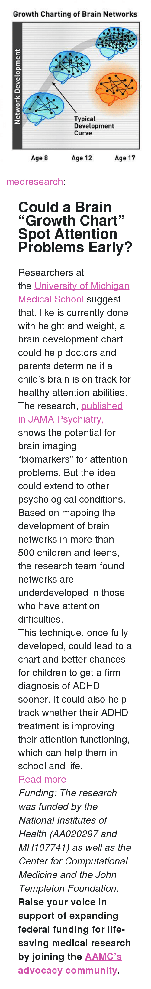 """University of Michigan: Growth Charting of Brain Networks  Typical  Development  Curve  3  Age 8  Age 12  Age 17 <p><a href=""""http://medresearch.tumblr.com/post/143342934359/could-a-brain-growth-chart-spot-attention"""" class=""""tumblr_blog"""">medresearch</a>:</p>  <blockquote><h2> Could a Brain """"Growth Chart"""" Spot Attention Problems Early?  </h2><p>Researchers at the<a href=""""https://medicine.umich.edu/medschool/"""">University of Michigan Medical School</a>suggest that, like is currently done with height and weight, a brain development chart could help doctors and parents determine if a child's brain is on track for healthy attention abilities.</p><p>The research, <a href=""""http://archpsyc.jamanetwork.com/article.aspx?articleid=2513687"""">published in JAMA Psychiatry,</a> shows the potential for brain imaging """"biomarkers"""" for attention problems. But the idea could extend to other psychological conditions.</p><p>Based on mapping the development of brain networks in more than 500 children and teens, the research team found networks are underdeveloped in those who have attention  difficulties.</p><p>This technique, once fully developed, could lead to a chart and better chances for  children to get a firm diagnosis of ADHD sooner. It could also help  track whether their ADHD treatment is improving their attention  functioning, which can help them in school and life.</p><p><a href=""""http://The%20research,%20published%20in%20JAMA%20Psychiatry,%20shows%20the%20potential%20for%20brain%20imaging%20%E2%80%9Cbiomarkers%E2%80%9D%20for%20attention%20problems.%20But%20the%20idea%20could%20extend%20to%20other%20psychological%20conditions."""">Read more</a></p><p><i>Funding: The research was funded by the National Institutes of Health  (AA020297 and MH107741) as well as the Center for Computational Medicine  and the John Templeton Foundation.</i></p><p>  <b>Raise your voice in support of expanding federal funding for life-saving medical research by joining the </b><b><a href=""""http://t.umblr.com/red"""