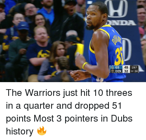 History, Warriors, and The Warriors: GS  49  32  :29.7  1ST 24 The Warriors just hit 10 threes in a quarter and dropped 51 points  Most 3 pointers in Dubs history 🔥