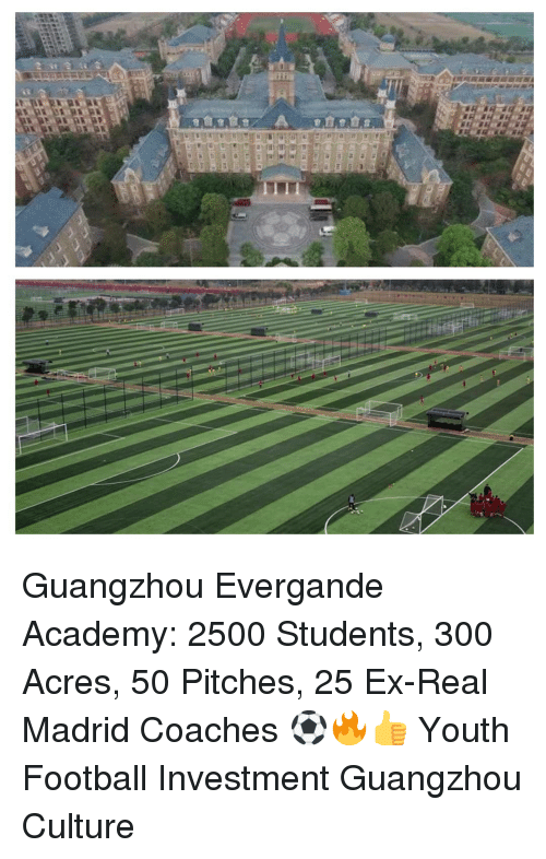 guangzhou: Guangzhou Evergande Academy: 2500 Students, 300 Acres, 50 Pitches, 25 Ex-Real Madrid Coaches ⚽️🔥👍 Youth Football Investment Guangzhou Culture