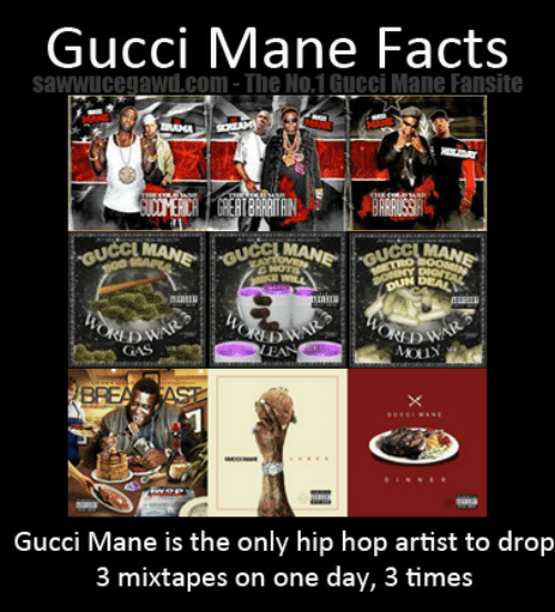 Mixtapes: GucCI Mane Facts  sawwucegawd.com-The No.1 Gucci Mane Fansite  DWAR  GAS  Gucci Mane is the only hip hop artist to drop  3 mixtapes on one day, 3 times