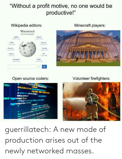Out Of: guerrillatech:  A new mode of production arises out of the newly networked masses.