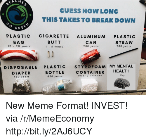 Diaper: GUESS HOW LONG  THIS TAKES TO BREAK DOWN  GREE  PLASTIC CIGARETTE ALUMINUM PLASTIC  BAG  10 20 years  BUTT  1-5 years  CAN  200 years  STRAW  200 years  DISPOSABLE PLASTIC STYROFOAM MY MENTAL  DIAPER  450 years  BOTTLE  450 years  CONTAINER HEALTH  never/ unknown  1 Day New Meme Format! INVEST! via /r/MemeEconomy http://bit.ly/2AJ6UCY