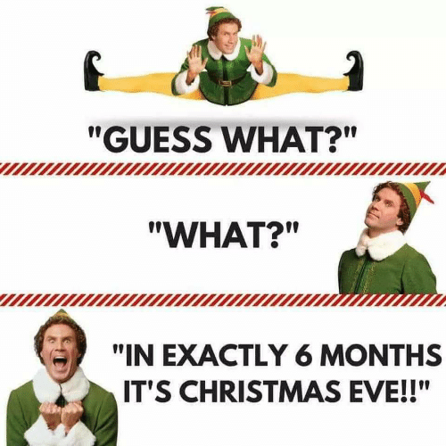 "Christmas, Guess, and Eve: ""GUESS WHAT?""  ""WHAT?""  ""IN EXACTLY6 MONTHS  IT'S CHRISTMAS EVE!!"""