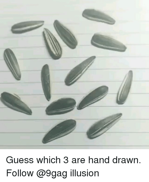 9gag, Memes, and Guess: Guess which 3 are hand drawn. Follow @9gag illusion