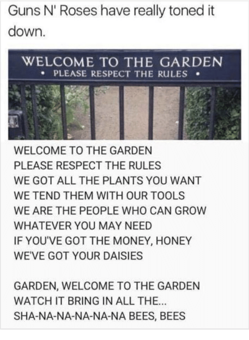 Toned: Guns N' Roses have really toned it  down.  WELCOME TO THE GARDEN  PLEASE RESPECT THE RuLES .  WELCOME TO THE GARDEN  PLEASE RESPECT THE RULES  WE GOT ALL THE PLANTS YOU WANT  WE TEND THEM WITH OUR TOOLS  WE ARE THE PEOPLE WHO CAN GROW  WHATEVER YOU MAY NEED  IF YOU'VE GOT THE MONEY, HONEY  WEVE GOT YOUR DAISIESS  GARDEN, WELCOME TO THE GARDEN  WATCH IT BRING IN ALL THE..  SHA-NA-NA-NA-NA-NA BEES, BEES