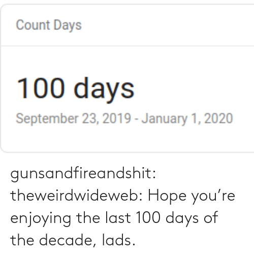 post: gunsandfireandshit: theweirdwideweb:  Hope you're enjoying the last 100 days of the decade, lads.