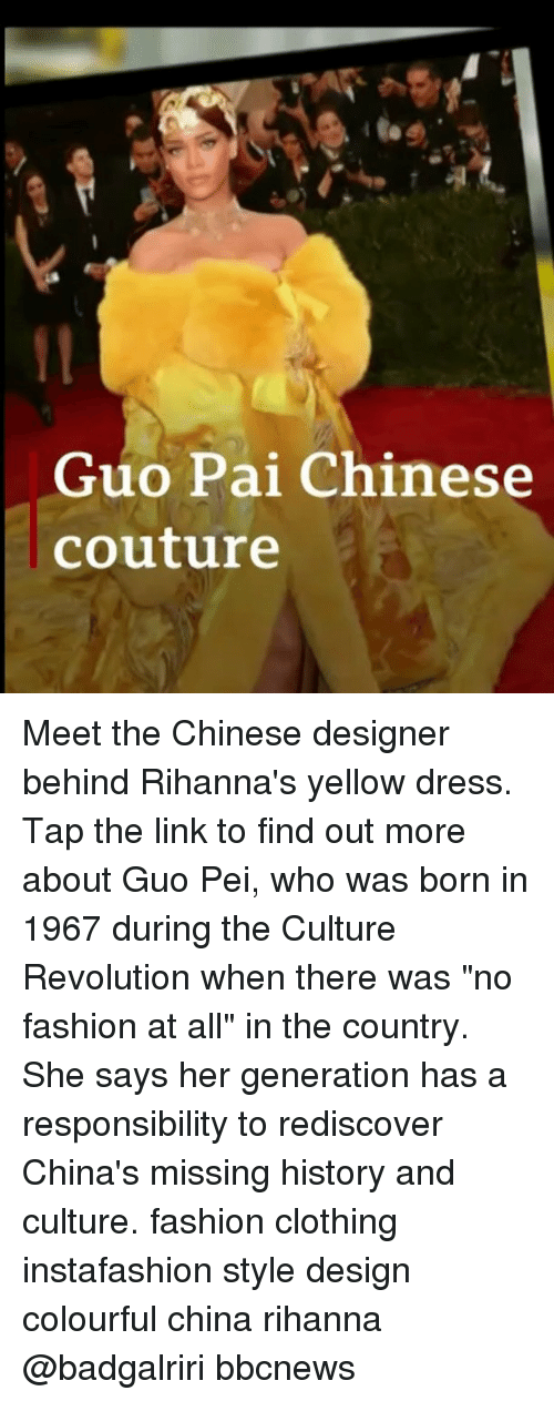 """Colourful: Guo Pai Chinese  couture Meet the Chinese designer behind Rihanna's yellow dress. Tap the link to find out more about Guo Pei, who was born in 1967 during the Culture Revolution when there was """"no fashion at all"""" in the country. She says her generation has a responsibility to rediscover China's missing history and culture. fashion clothing instafashion style design colourful china rihanna @badgalriri bbcnews"""