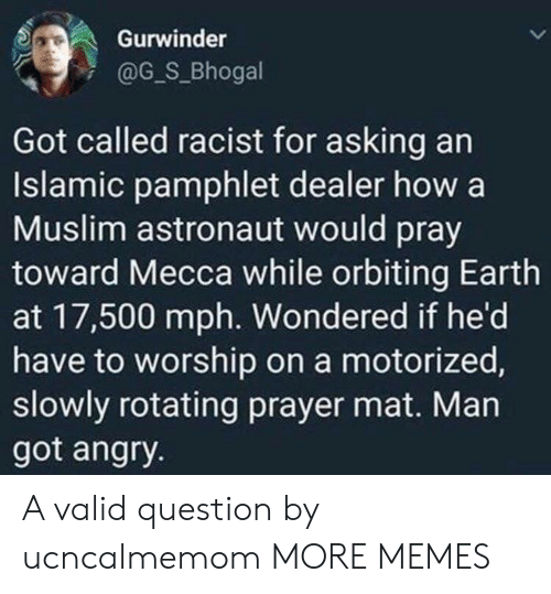 Dank, Memes, and Muslim: Gurwinder  @G_S_Bhogal  Got called racist for asking an  Islamic pamphlet dealer how a  Muslim astronaut would pray  toward Mecca while orbiting Earth  at 17,500 mph. Wondered if he'd  have to worship on a motorized,  slowly rotating prayer mat. Man  got angry. A valid question by ucncalmemom MORE MEMES