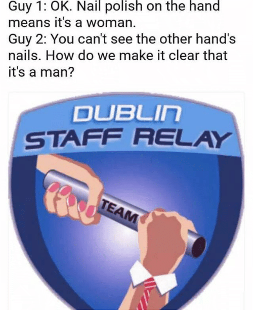 relay: Guy 1: OK. Nail polish on the hand  means it's a woman.  Guy 2: You can't see the other hand's  nails. How do we make it clear that  it's a man?  DUBLIn  STAFF RELAY