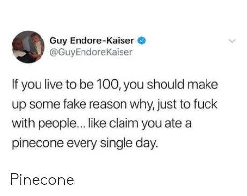 Fake, Fuck, and Kaiser: Guy Endore-Kaiser  @GuyEndoreKaiser  If you live to be 100, you should make  up some fake reason why, just to fuck  with people... like claim you ate a  pinecone every single day. Pinecone