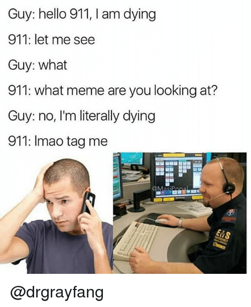 Hello, Meme, and Dank Memes: Guy: hello 911, I am dying  911: let me see  Guy: what  911: what meme are you looking at?  Guy: no, I'm literally dying  911: Imao tag me @drgrayfang
