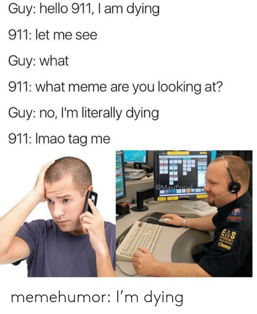 Hello, Meme, and Tumblr: Guy: hello 911, I am dying  911: let me see  Guy: what  911: what meme are you looking at?  Guy: no, I'm literally dying  911: Imao tag me memehumor:  I'm dying