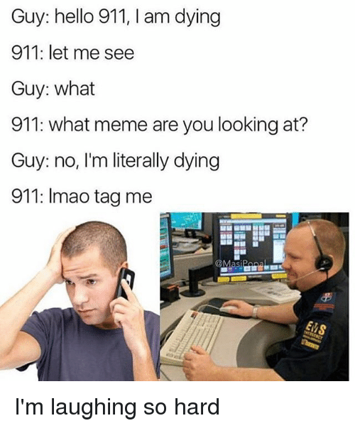 What Memes: Guy: hello 911, l am dying  911: let me see  Guy: what  911: what meme are you looking at?  Guy: no, I'm literally dying  911: lmao tag me  @Masi I'm laughing so hard