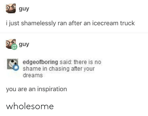 Icecream: guy  i just shamelessly ran after an icecream truck  guy  edgeofboring said: there is no  shame in chasing after your  dreams  you are an inspiration wholesome