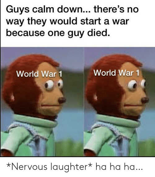 ha ha: Guys calm down... there's no  way they would start a war  because one guy died.  World War 1  World War 1 *Nervous laughter* ha ha ha…