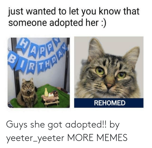 Adopted: Guys she got adopted!! by yeeter_yeeter MORE MEMES
