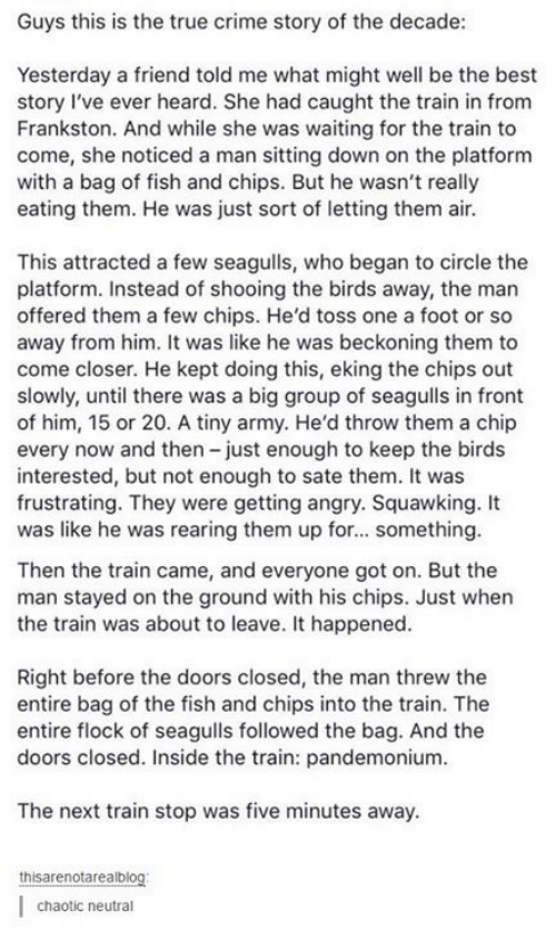 Criming: Guys this is the true crime story of the decade  Yesterday a friend told me what might well be the best  story I've ever heard. She had caught the train in from  Frankston. And while she was waiting for the train to  come, she noticed a man sitting down on the platform  with a bag of fish and chips. But he wasn't really  eating them. He was just sort of letting them ai.  This attracted a few seagulls, who began to circle the  platform. Instead of shooing the birds away, the man  offered them a few chips. He'd toss one a foot or so  away from him. It was like he was beckoning them to  come closer. He kept doing this, eking the chips out  slowly, until there was a big group of seagulls in front  of him, 15 or 20. A tiny army. He'd throw them a chip  every now and then -just enough to keep the birds  interested, but not enough to sate them. It was  frustrating. They were getting angry. Squawking. It  was like he was rearing them up for... something  Then the train came, and everyone got on. But the  man stayed on the ground with his chips. Just when  the train was about to leave. It happened  Right before the doors closed, the man threw the  entire bag of the fish and chips into the train. The  entire flock of seagulls followed the bag. And the  doors closed. Inside the train: pandemonium  The next train stop was five minutes away  thisarenotareal  chaotic neutral