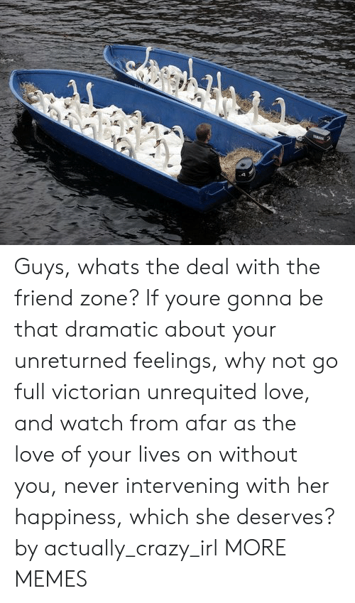from afar: Guys, whats the deal with the friend zone? If youre gonna be that dramatic about your unreturned feelings, why not go full victorian unrequited love, and watch from afar as the love of your lives on without you, never intervening with her happiness, which she deserves? by actually_crazy_irl MORE MEMES