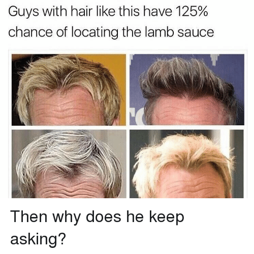 Lamb Sauce: Guys with hair like this have 125%  chance of locating the lamb sauce <p>Then why does he keep asking?</p>