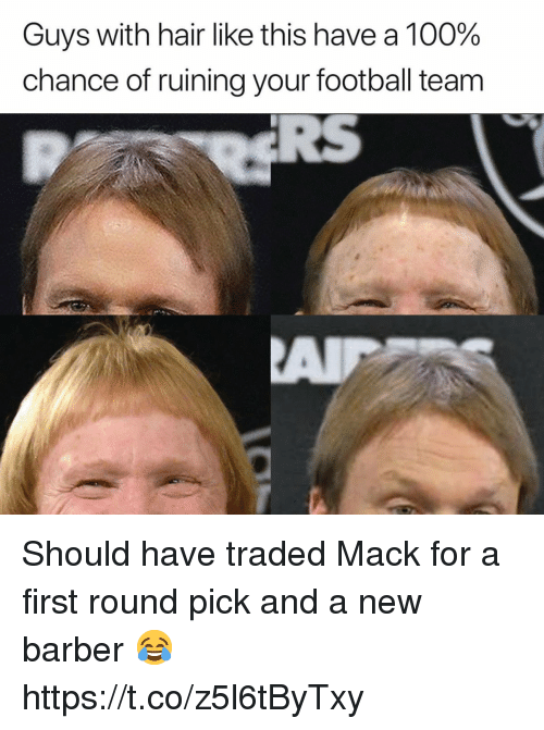 Anaconda, Barber, and Football: Guys with hair like this have a 100%  chance of ruining your football team Should have traded Mack for a first round pick and a new barber 😂 https://t.co/z5l6tByTxy