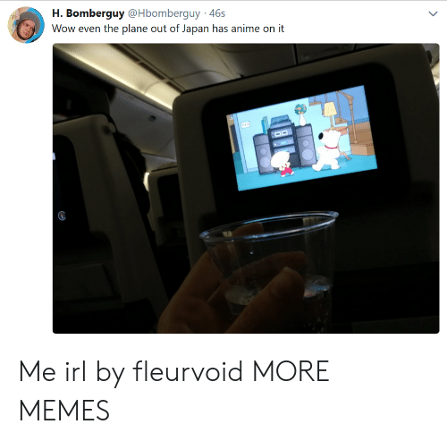 Anime On: H. Bomberguy @Hbomberguy 46s  Wow even the plane out of Japan has anime on it Me irl by fleurvoid MORE MEMES