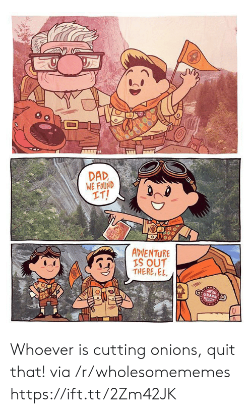 Dad, Adventure Is, and Via: H  DAD  WE FOUND  IT!  ADVENTURE  IS OUT  THERE,EL  GRAPE Whoever is cutting onions, quit that! via /r/wholesomememes https://ift.tt/2Zm42JK