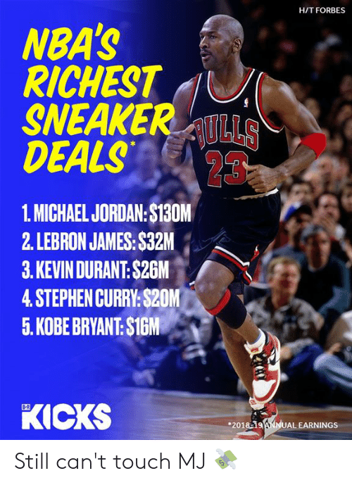 LeBron James: H/T FORBES  NBA'S  RICHEST  SNEAKERULLS  DEALS  23  1. MICHAEL JORDAN:$130M  2. LEBRON JAMES: $32M  3.KEVIN DURANT: $26M  4.STEPHEN CURRY:$20M  5. KOBE BRYANT: $1GM  KICKS  B-R  201819ANNUAL EARNINGS Still can't touch MJ 💸