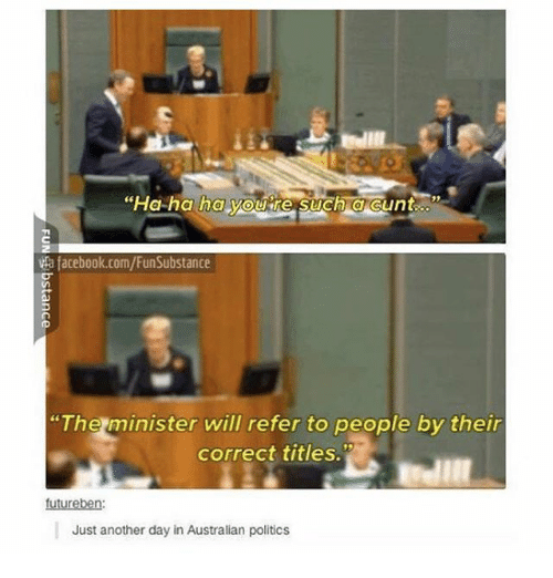 """Referance: """"Ha ha ha youre such acunt  ta facebook.com/FunSubstance  """"The minister will refer to people by their  correct titles.  futureben  Just another day in Australian politics"""