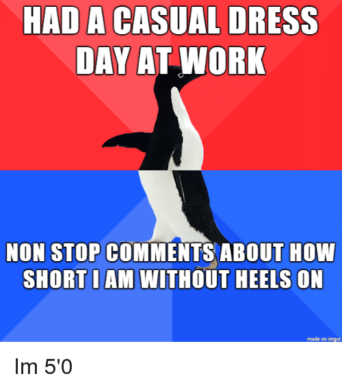 non stop: HAD A CASUAL DRESS  DAY AT WORK  NON STOP COMMENTS ABOUT HOW  SHORT I AM WITHOUT HEELS ON  made on imgur Im 5'0