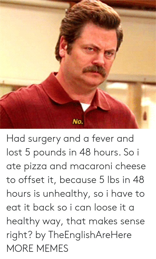 Dank, Memes, and Pizza: Had surgery and a fever and lost 5 pounds in 48 hours. So i ate pizza and macaroni cheese to offset it, because 5 lbs in 48 hours is unhealthy, so i have to eat it back so i can loose it a healthy way, that makes sense right? by TheEnglishAreHere MORE MEMES