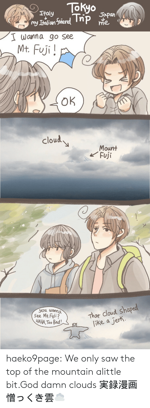 We Only: haeko9page:  We only saw the top of the mountain alittle bit.God damn clouds 実録漫画憎っくき雲☁️