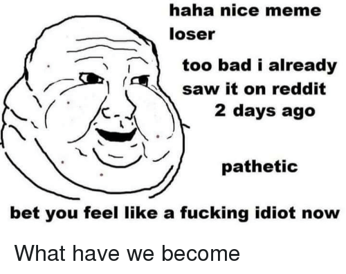 Bad, Fucking, and Meme: haha nice meme  loser  1too bad i already  saw it on reddit  2 days ago  pathetic  bet you feel like a fucking idiot now What have we become