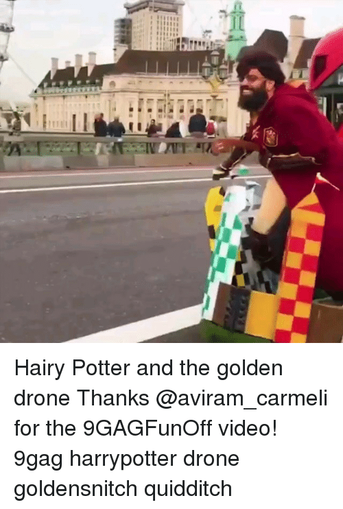 Quidditch: Hairy Potter and the golden drone Thanks @aviram_carmeli for the 9GAGFunOff video! 9gag harrypotter drone goldensnitch quidditch